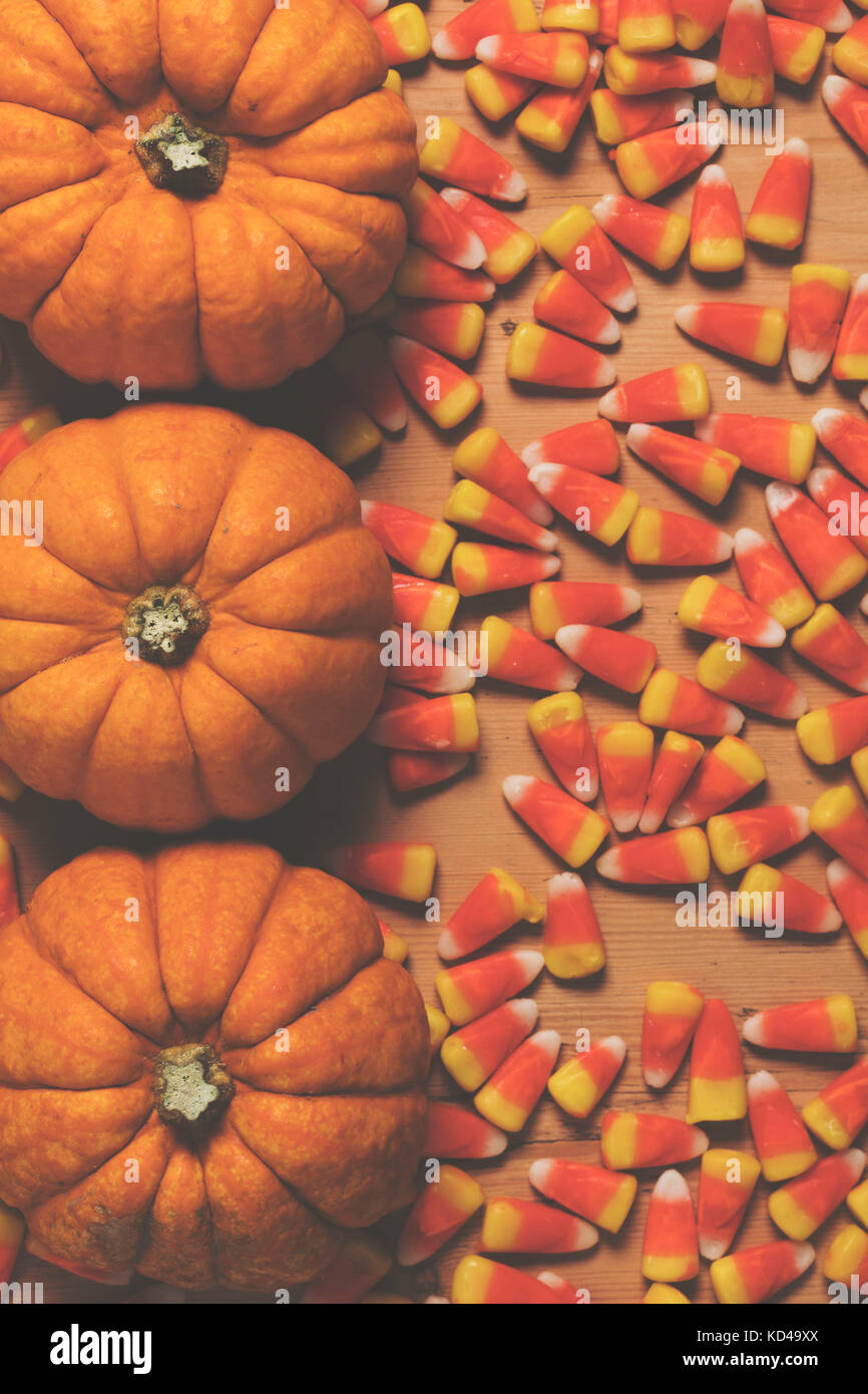 Pumpkin And Candy Corn Autumn Halloween Background Stock