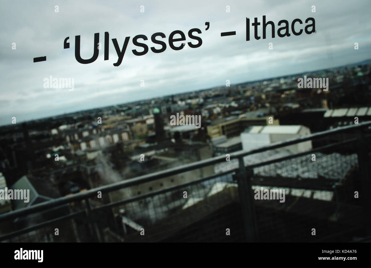 Window with the word 'Ulysses - Ithaca' referencing Irish writer James Joyce with Dublin landscape in the - Stock Image