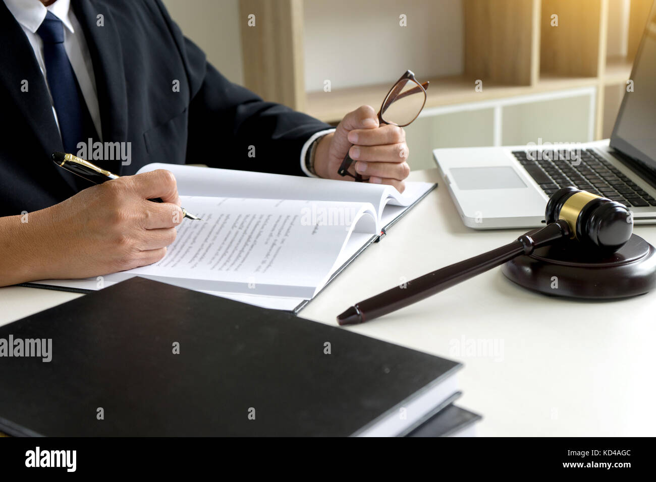 Judge gavel with Justice lawyers Plaintiff or defendant  meeting at law firm in background. Concept of law. - Stock Image