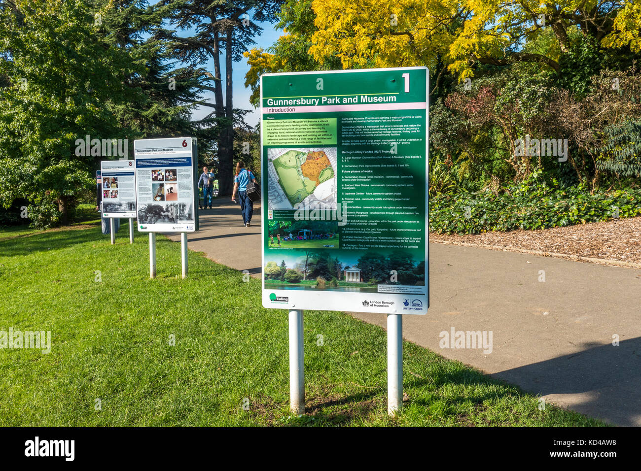 Notice boards in Gunnersbury Park, explaining about a major programme of works being undertaken there by two local - Stock Image