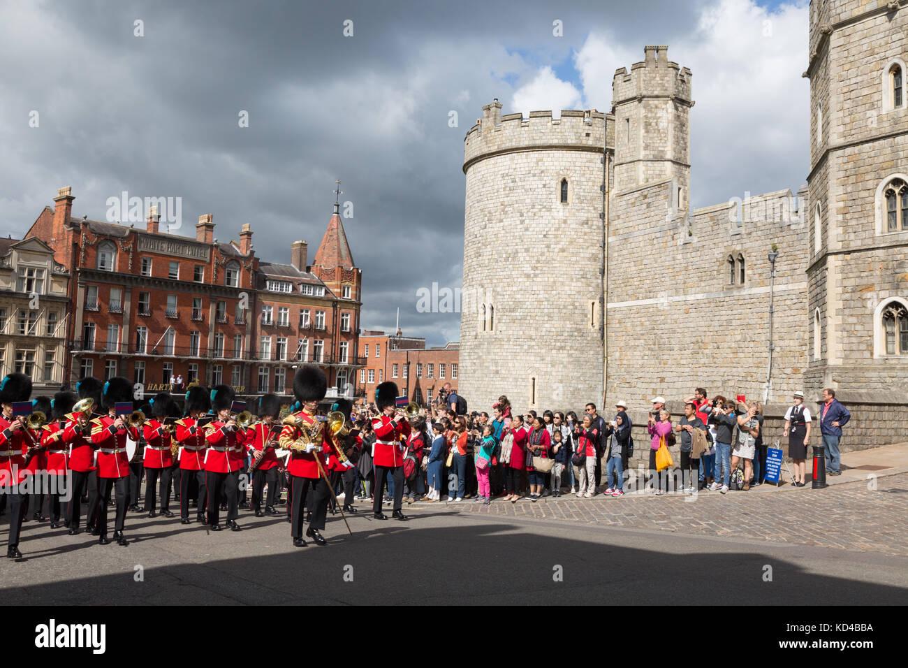 Windsor Castle, Changing of the guard, Windsor Castle, Windsor, Berkshire England UK - Stock Image