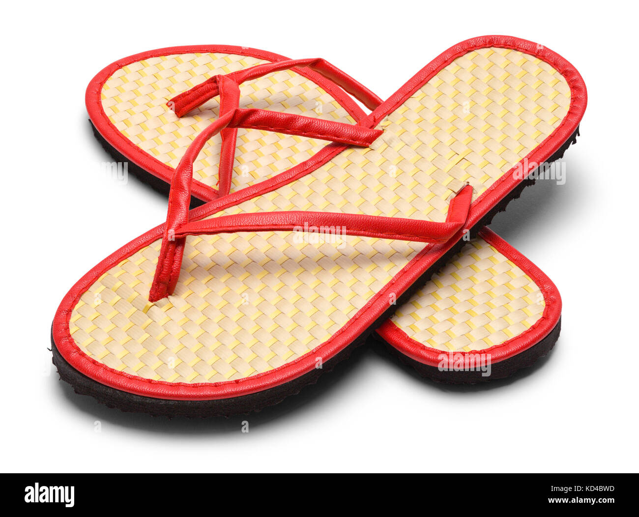 Pair of Woven Flip Flops Isolated on a White Background. - Stock Image