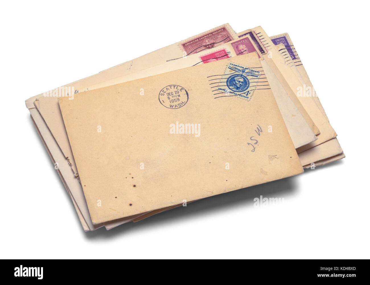 Pile of Old Mail Isolated on a White Background. - Stock Image
