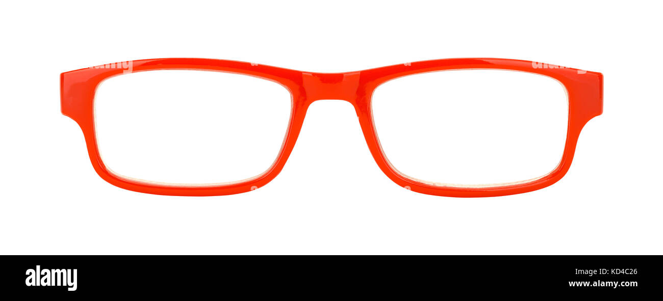 Pair of Red Glasses Front View Cut Out on White. - Stock Image