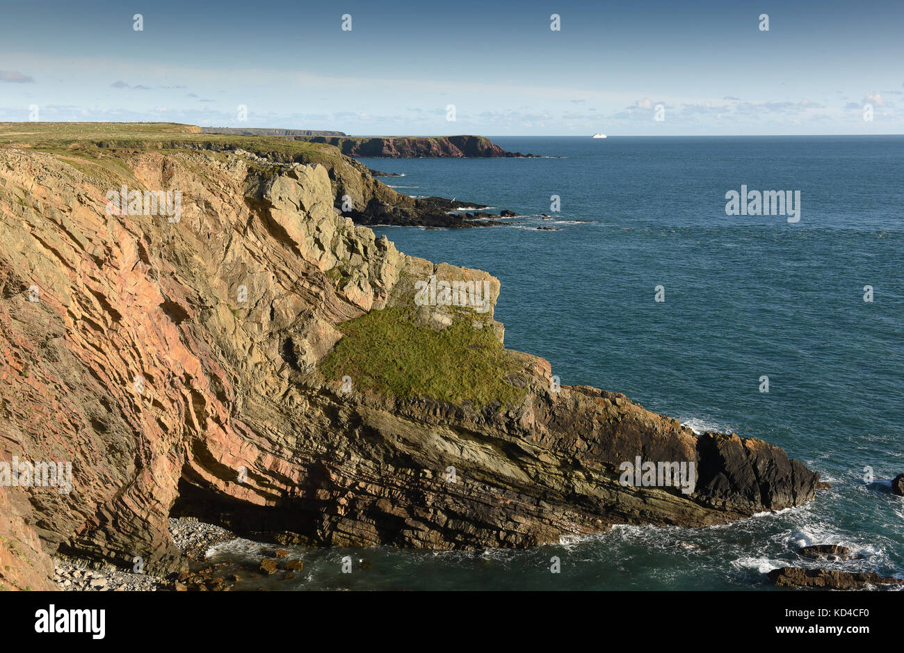 Wooltack Point and bay in Pembrokeshire West Wales UK - Stock Image