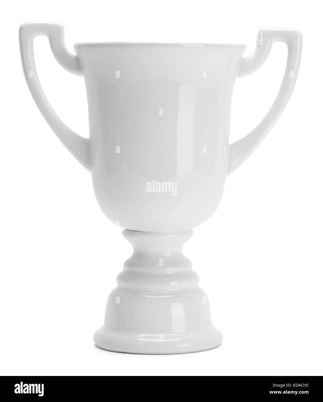 Ceramic White Trophy Cup Isolated on White Background. - Stock Image