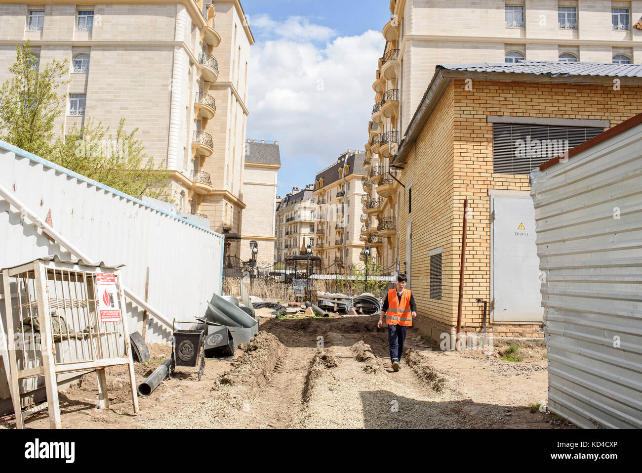 The construction of the French district is not yet finished. It will deliver luxury residential homes in the center Stock Photo