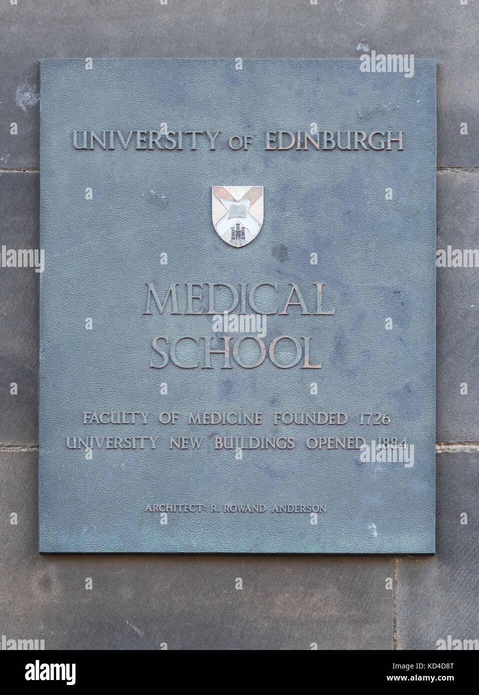 Edinburgh Medical School sign, Edinburgh, Scotland, UK - Stock Image