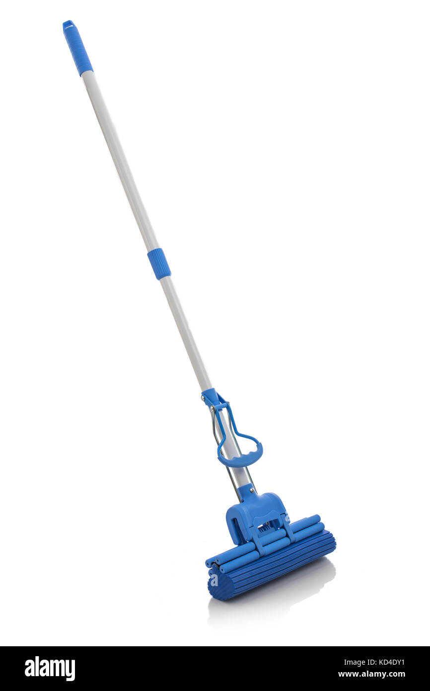Cleaning floor with mop isolated on white background - Stock Image