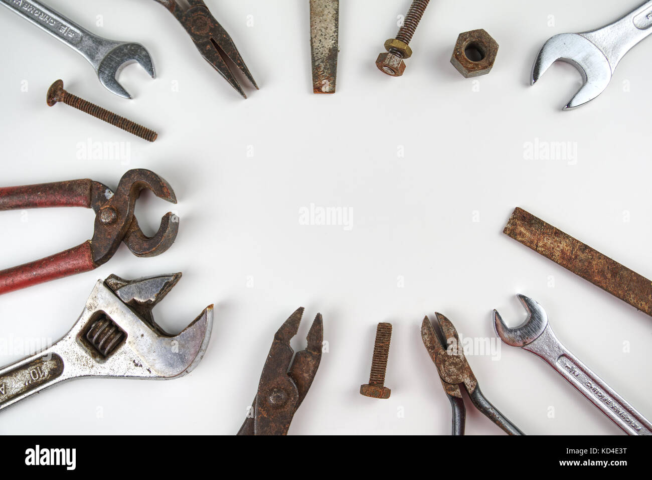 Old tools making a background frame border for text. Room for copy ...