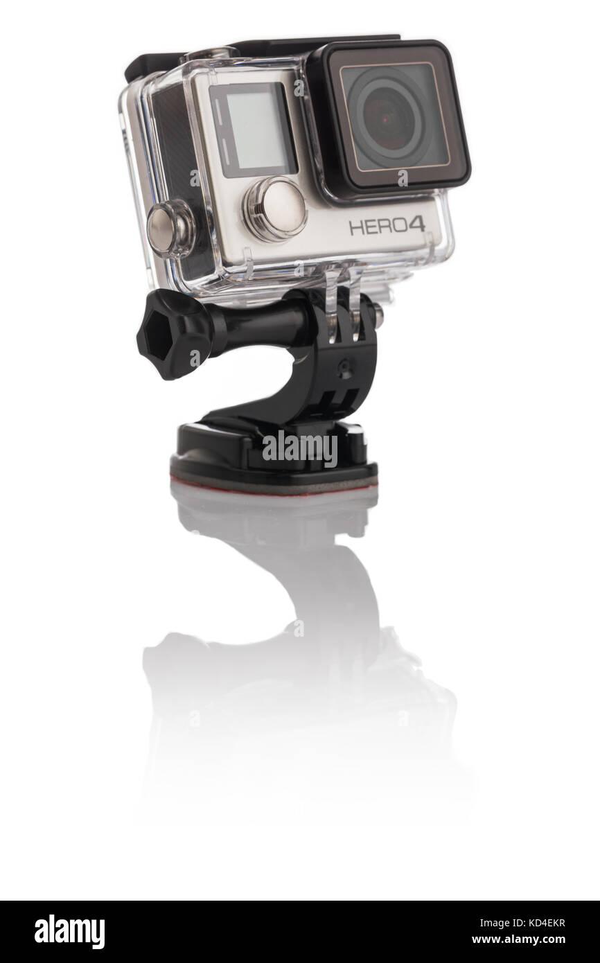 Varna, Bulgaria - January 8, 2017: GoPro Hero 4 Black Edition isolated on white background.manufactured by GoPro - Stock Image