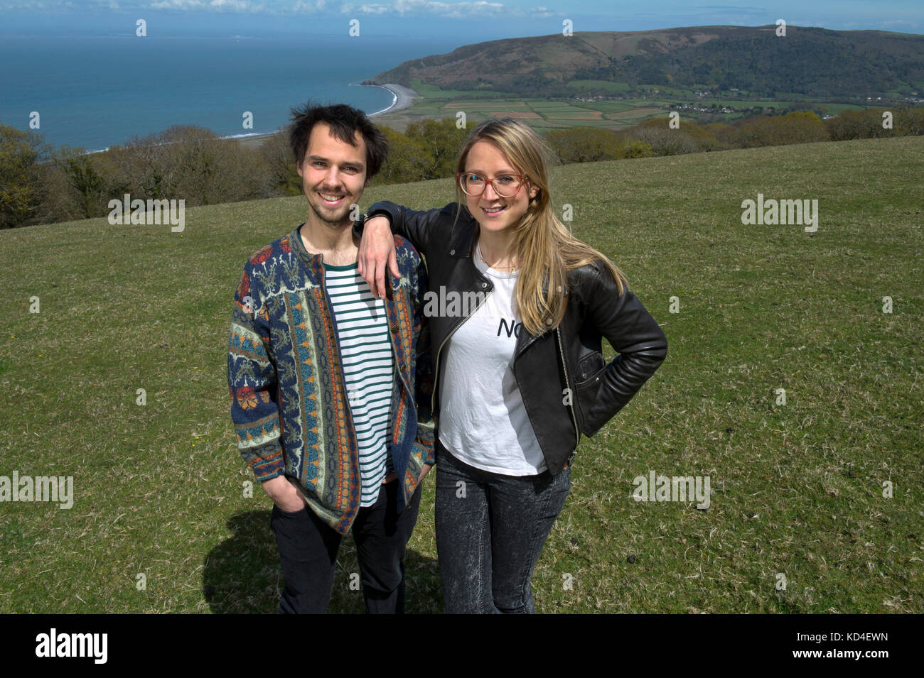 Samphire Festival.   Organisers Flora Blathwayt and Josh Beauchamp at the festival site at Porlock Hill, Somerset, - Stock Image