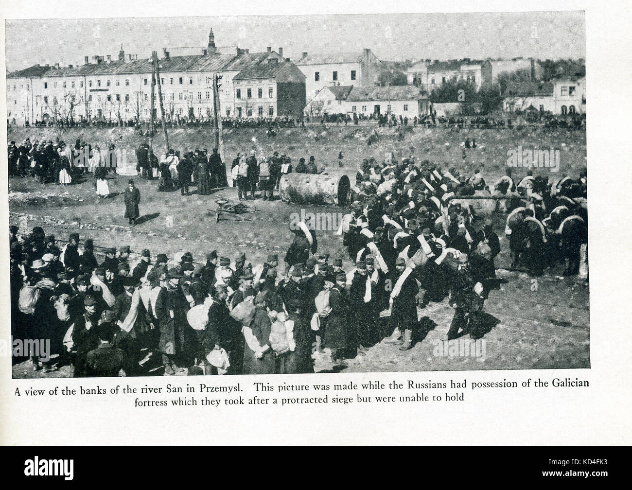 This photo dates to World War I. The caption reads: A view of the banks of the river San in Przemysl. This picture - Stock Image