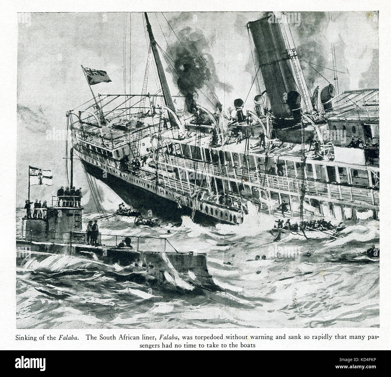 This photo dates to World War I. The caption reads: Sinking of the Falaba. The South African liner, Falaba, was - Stock Image