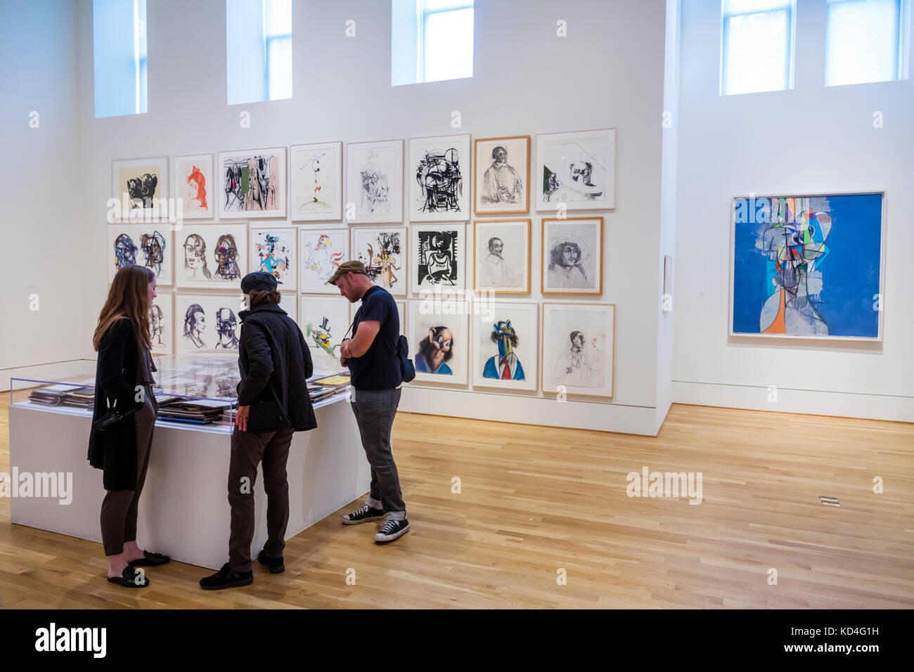 Washington DC District of Columbia Phillips Collection art museum George Condo drawings paintings exhibition viewing - Stock Image