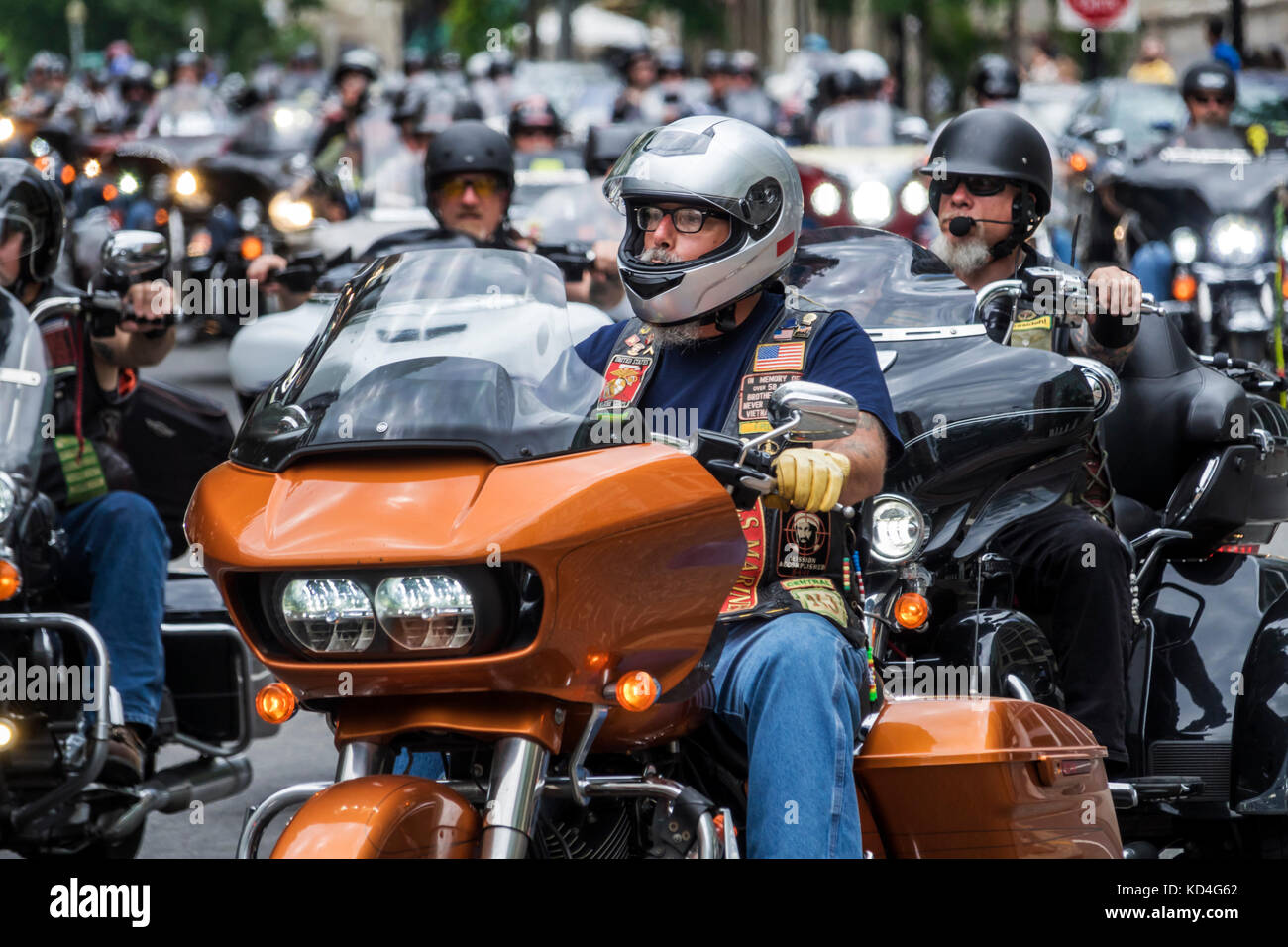 Washington DC District of Columbia Downtown Rolling Thunder motorcycle rally participant riding Stock Photo
