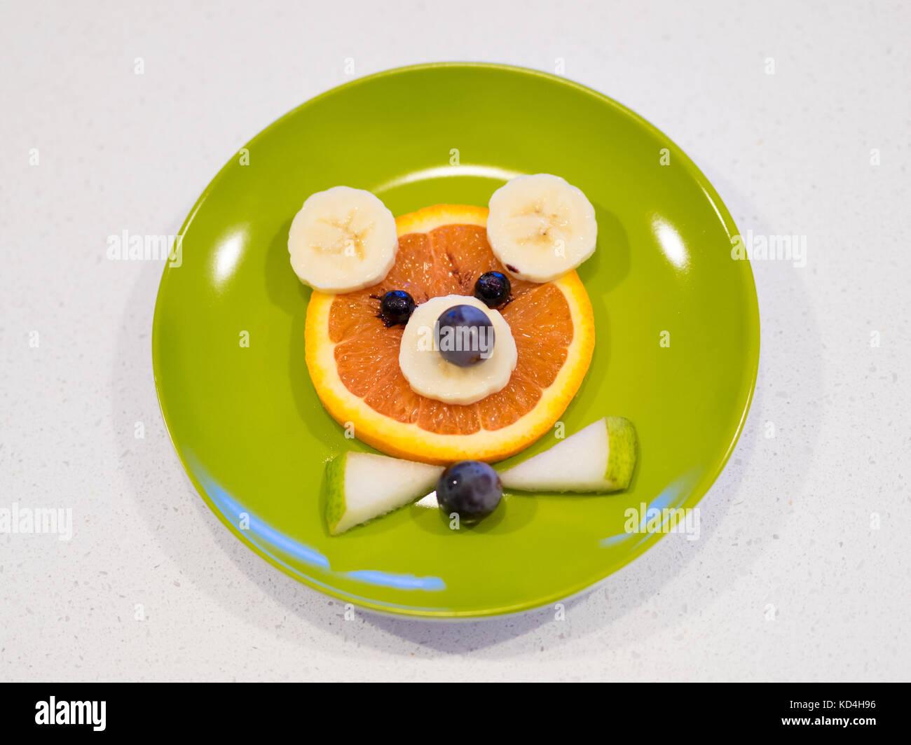 Bear Food Art For Kids Food Art Fruit Bear Made From Orange Stock Photo Alamy
