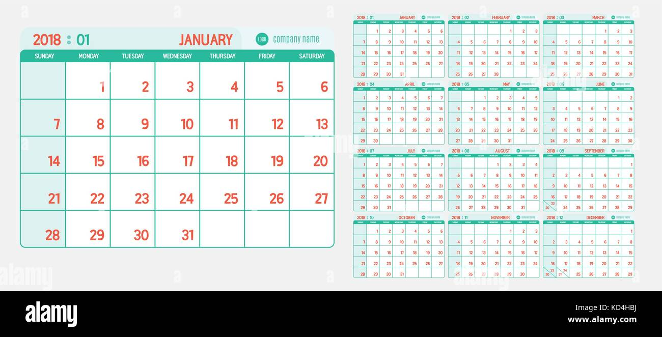 vector of calendar 2018 new year with light vintage green and red color in table and simple clean modern style template week start at sunday