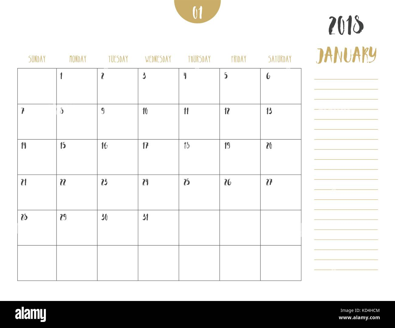 vector of calendar 2018 september in simple clean table style with note line in