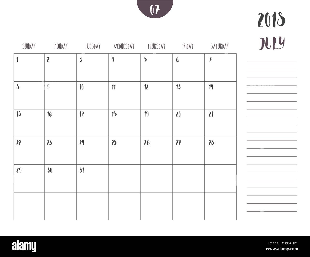vector of calendar 2018 july in simple clean table style with note line in
