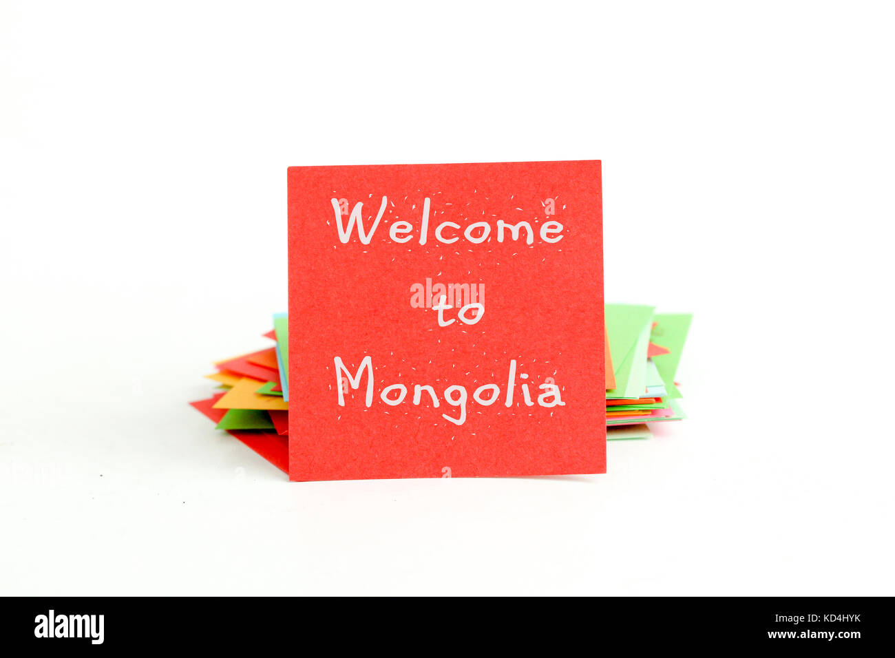 picture of a red note paper with text welcome to mongolia - Stock Image