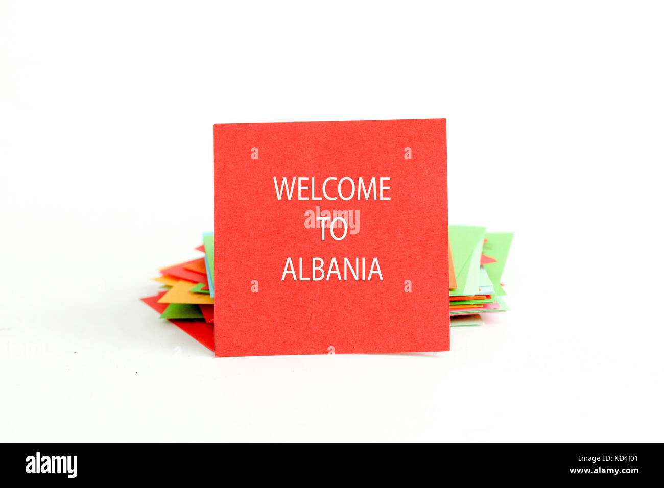 picture of a red note paper with text welcome to albania - Stock Image