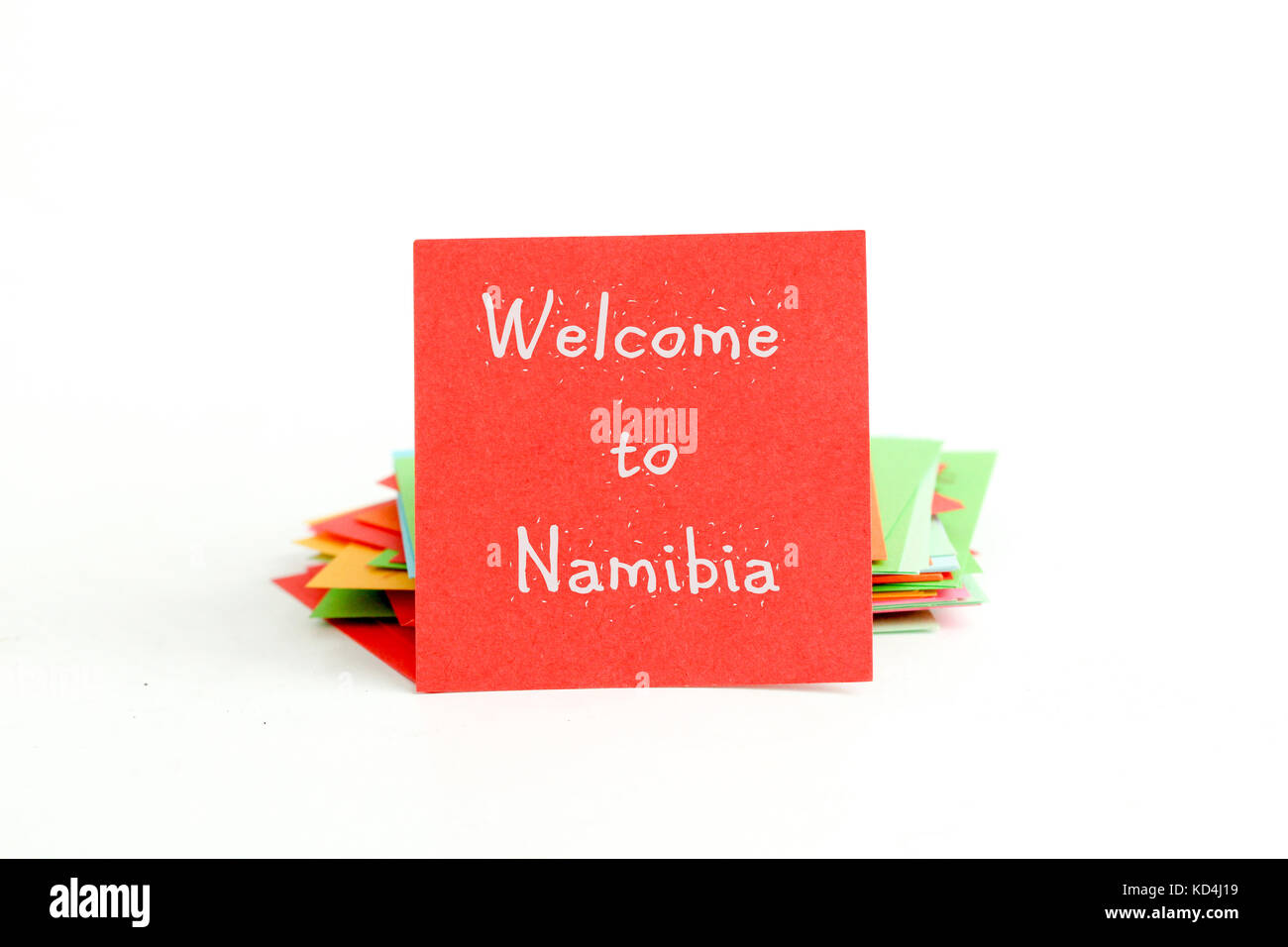 picture of a red note paper with text welcome to namibia - Stock Image