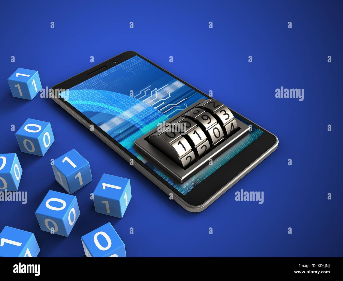 3d illustration of mobile phone over blue background with binary cubes and lock dial stock