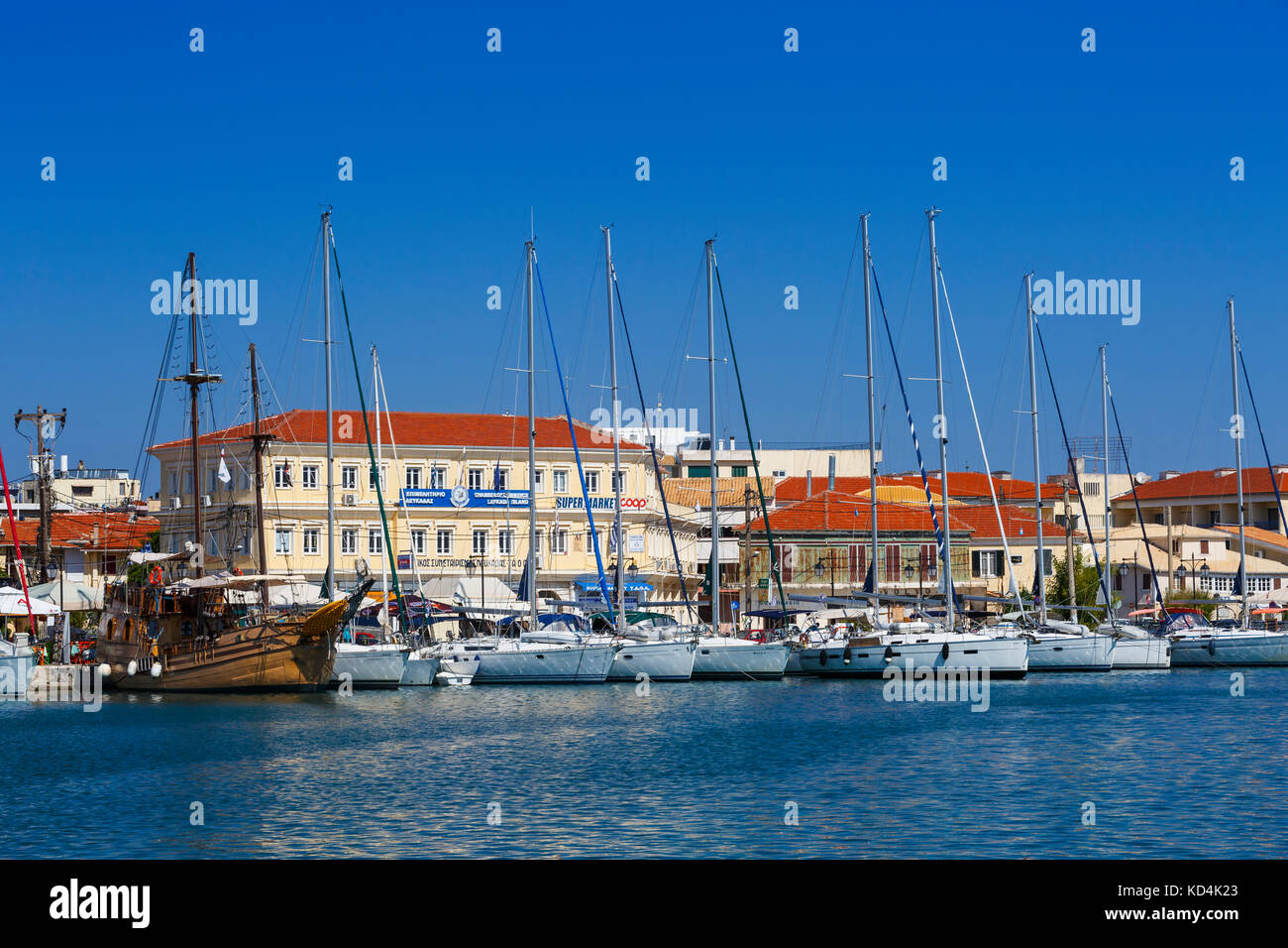 Sail boats in the harbour of Lefkada town, Greece. - Stock Image