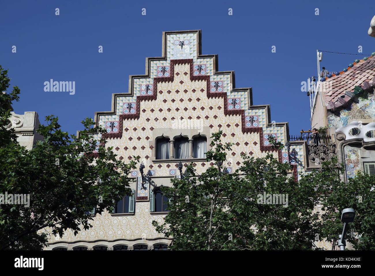 Casa Amatller on the Passeig de Gracia in Barcelona Designed by the architect Puig i Cadafalch Catalunia Spain - Stock Image