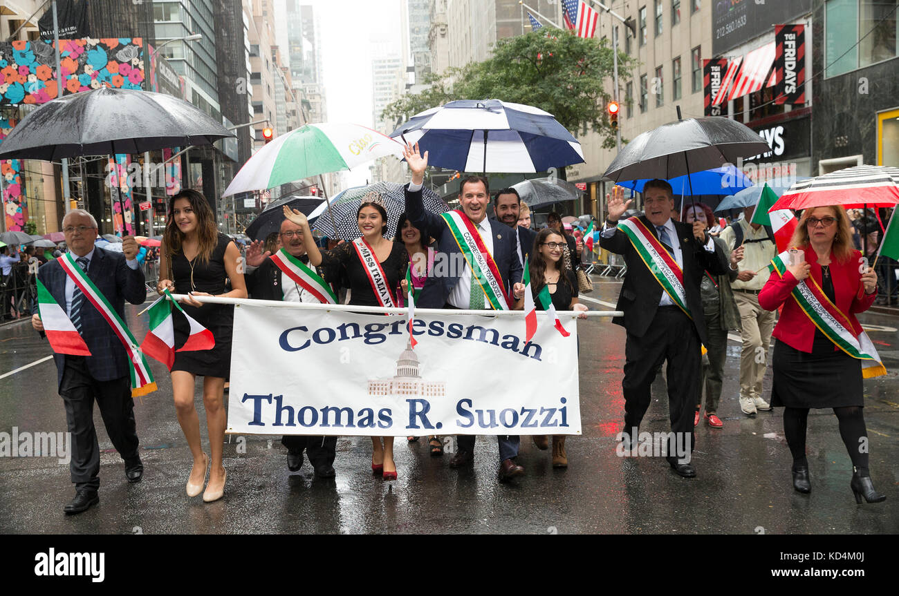 Congressman Thomas Suozzi attends Columbus Day parade under rain along Fifth Avenue in Manhattan (Photo by Lev Radin/Pacific Stock Photo