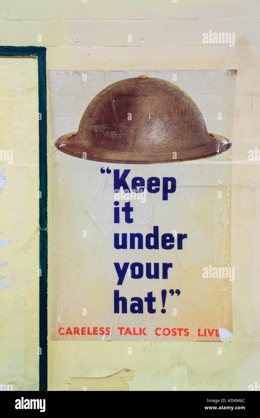 Keep it under your hat, vintage old wartime propaganda poster closed Aldwych Underground Tube Station, London Stock Photo