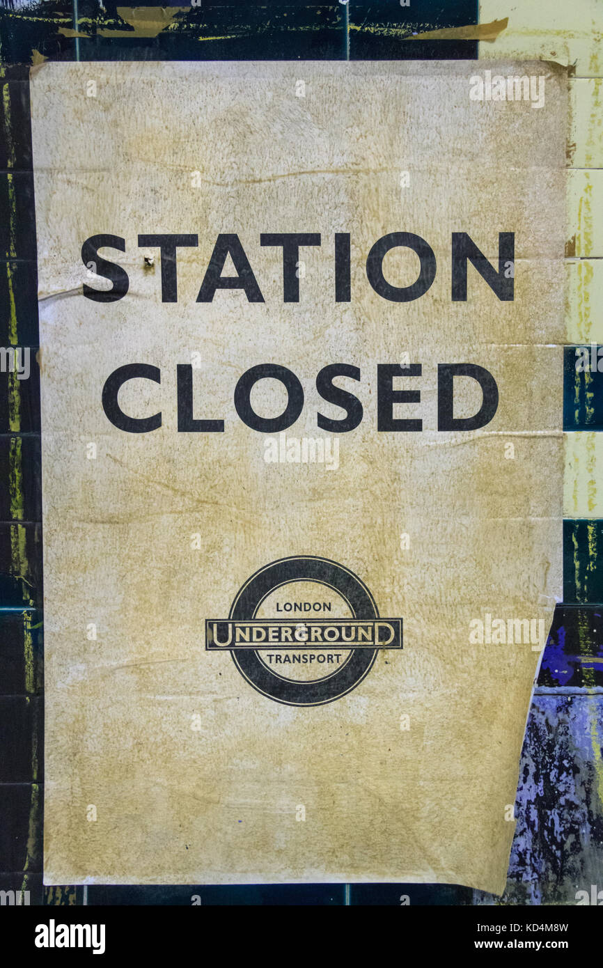 Vintage Station Closed poster, iconic old tube sign in the closed Aldwych Underground Station, London - Stock Image