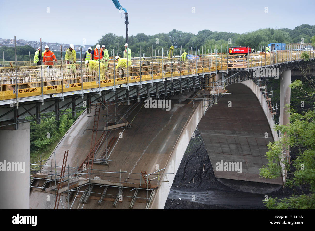 A new, concrete road bridge under construction at Bargoed in South Wales, UK. Part of a Government and EEC funded - Stock Image