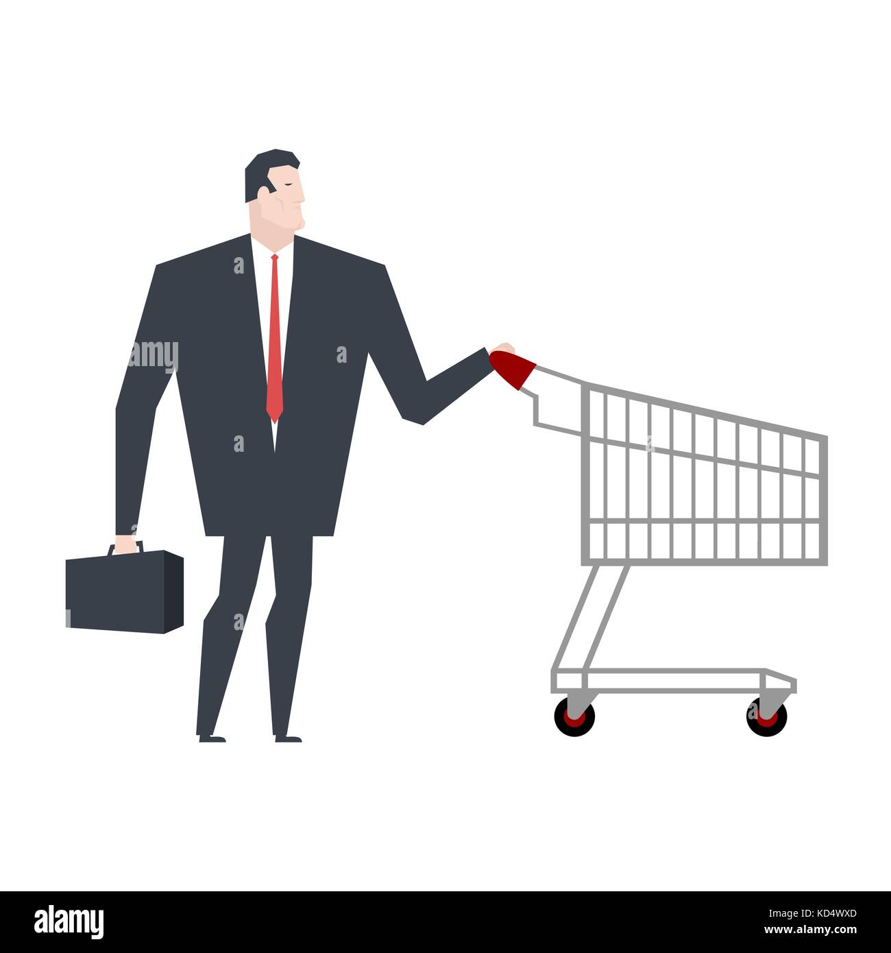 Businessman and shopping cart. boss is in store shopping. Vector illustration - Stock Vector