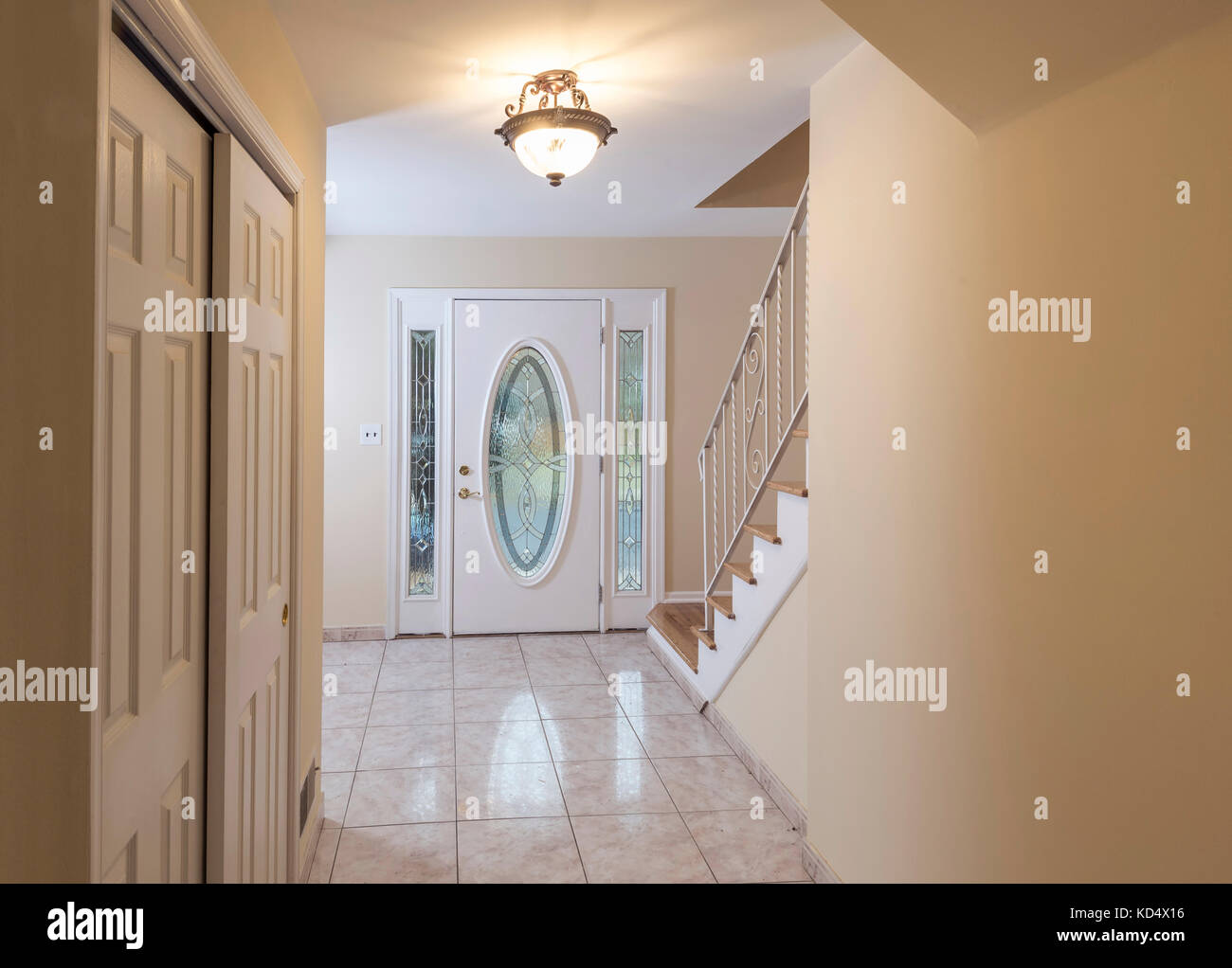 Empty Vacant Foyer In Residential Home - Stock Image