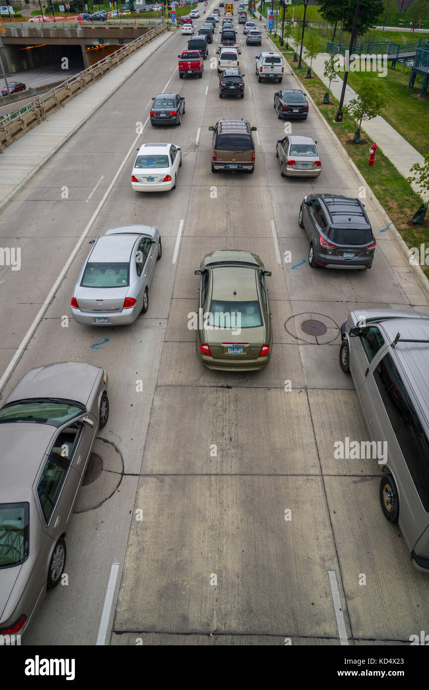Overhead View Of Highway With Traffic Cars - Stock Image