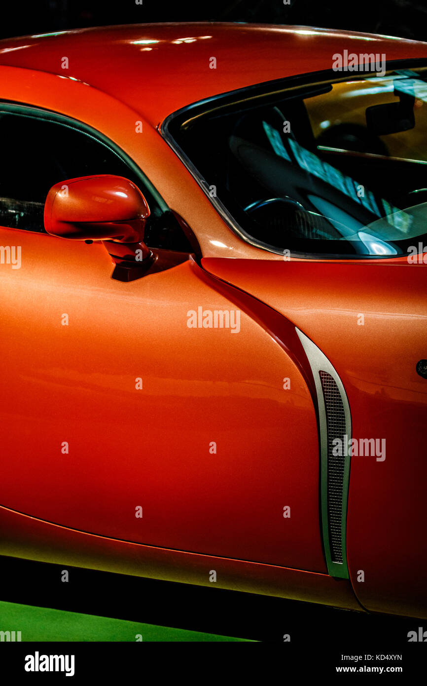 TVR display in the Earls Court Motor Show exhibition at the 2017 Goodwood Revival, Sussex, UK. - Stock Image
