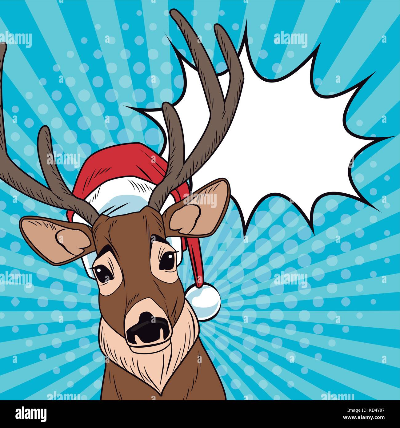fb01a87576c15 Reindeer with santa hat and bubble Christmas pop art Stock Vector ...