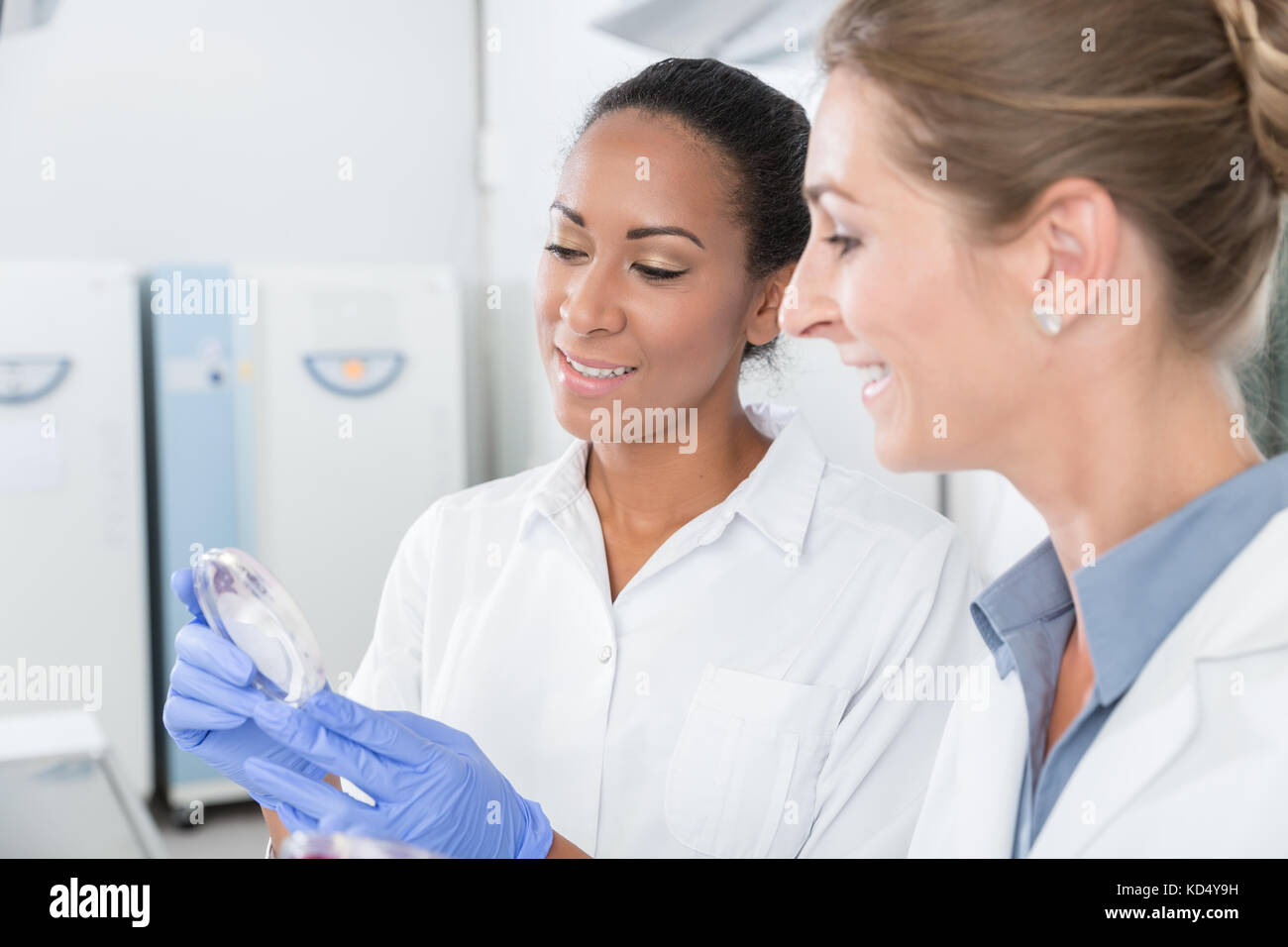 Scientists in research lab with analyzing instrument talking abo - Stock Image