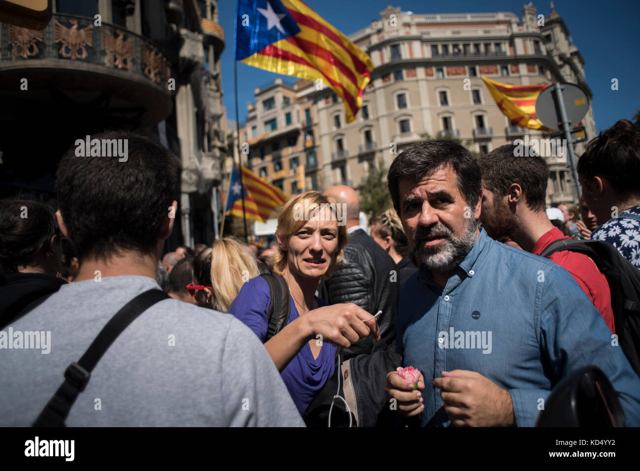 Jordi Sànchez, president of the Catalan National Assembly (ANC), attends the protest in front of the Conselleria - Stock Image