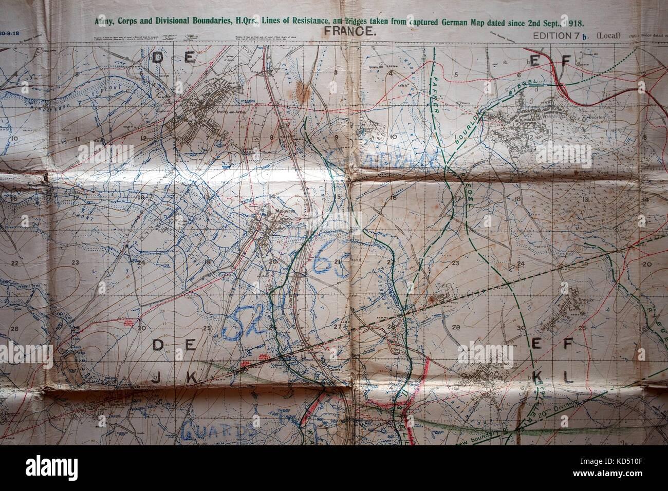 Detail of ordnance survey first world war map circa 1918 cambrai detail of ordnance survey first world war map circa 1918 cambrai france army corps and divisional boundaries gumiabroncs Images