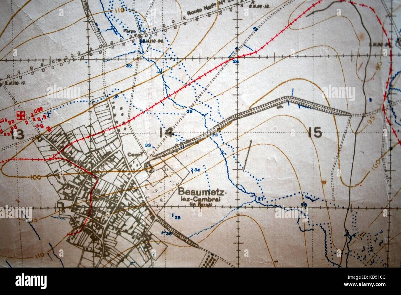 First world war map stock photos first world war map stock images detail of ordnance survey first world war map circa 1918 beaumetz lez cambrai gumiabroncs Images