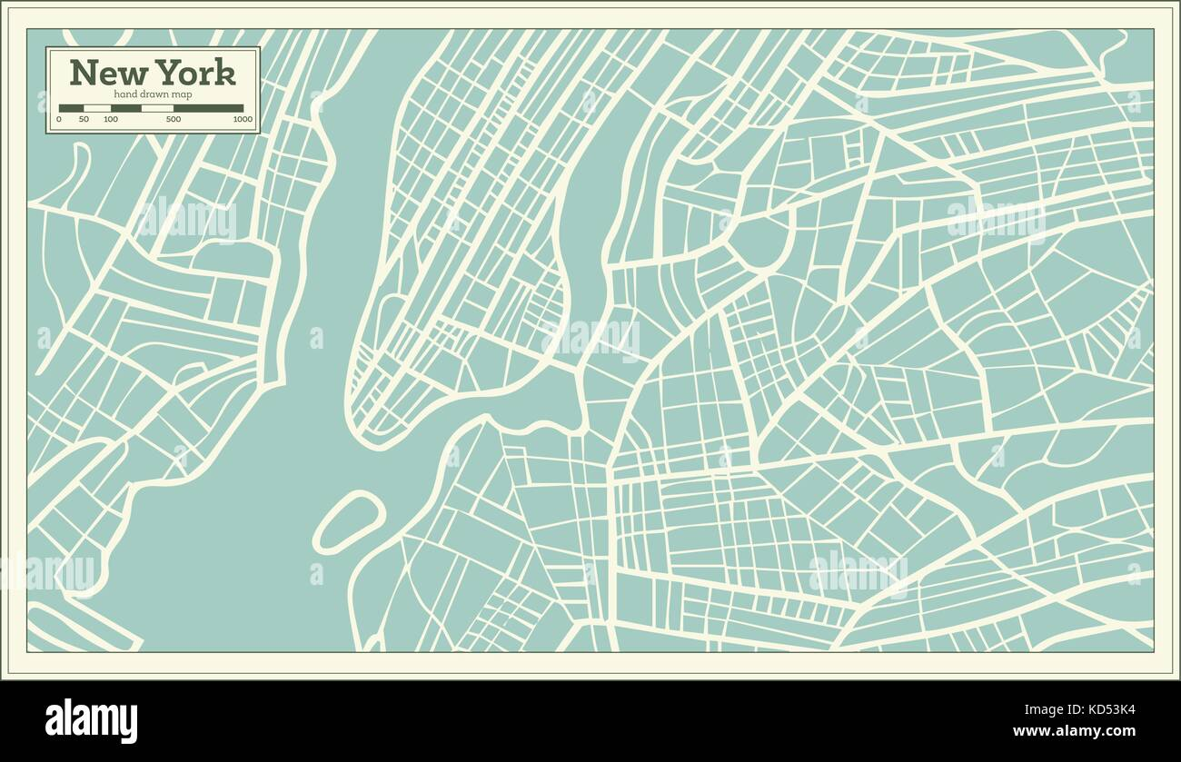 new york usa map in retro style vector illustration stock image