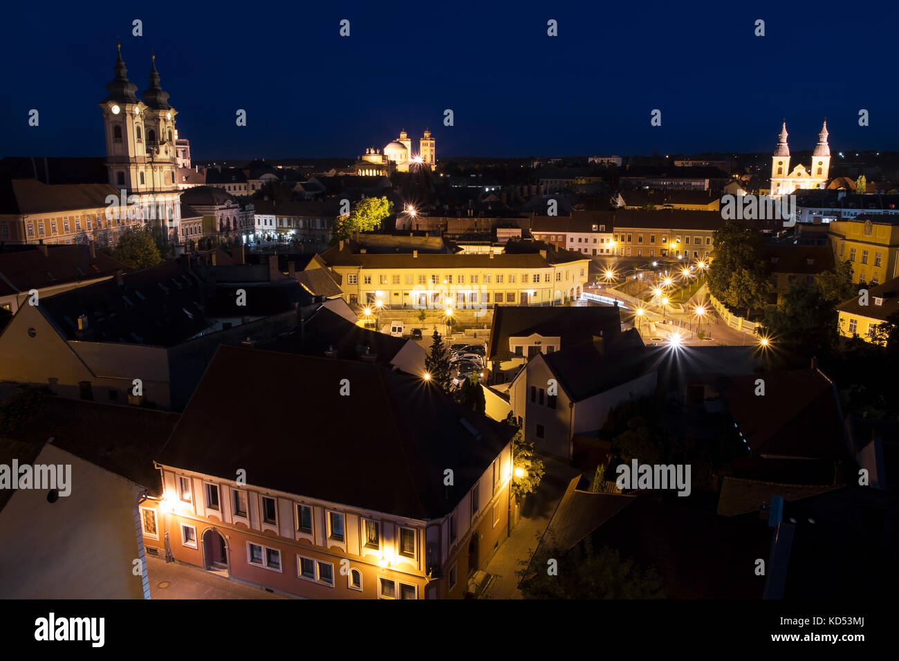 View of Eger from the castle at night, Hungary - Stock Image