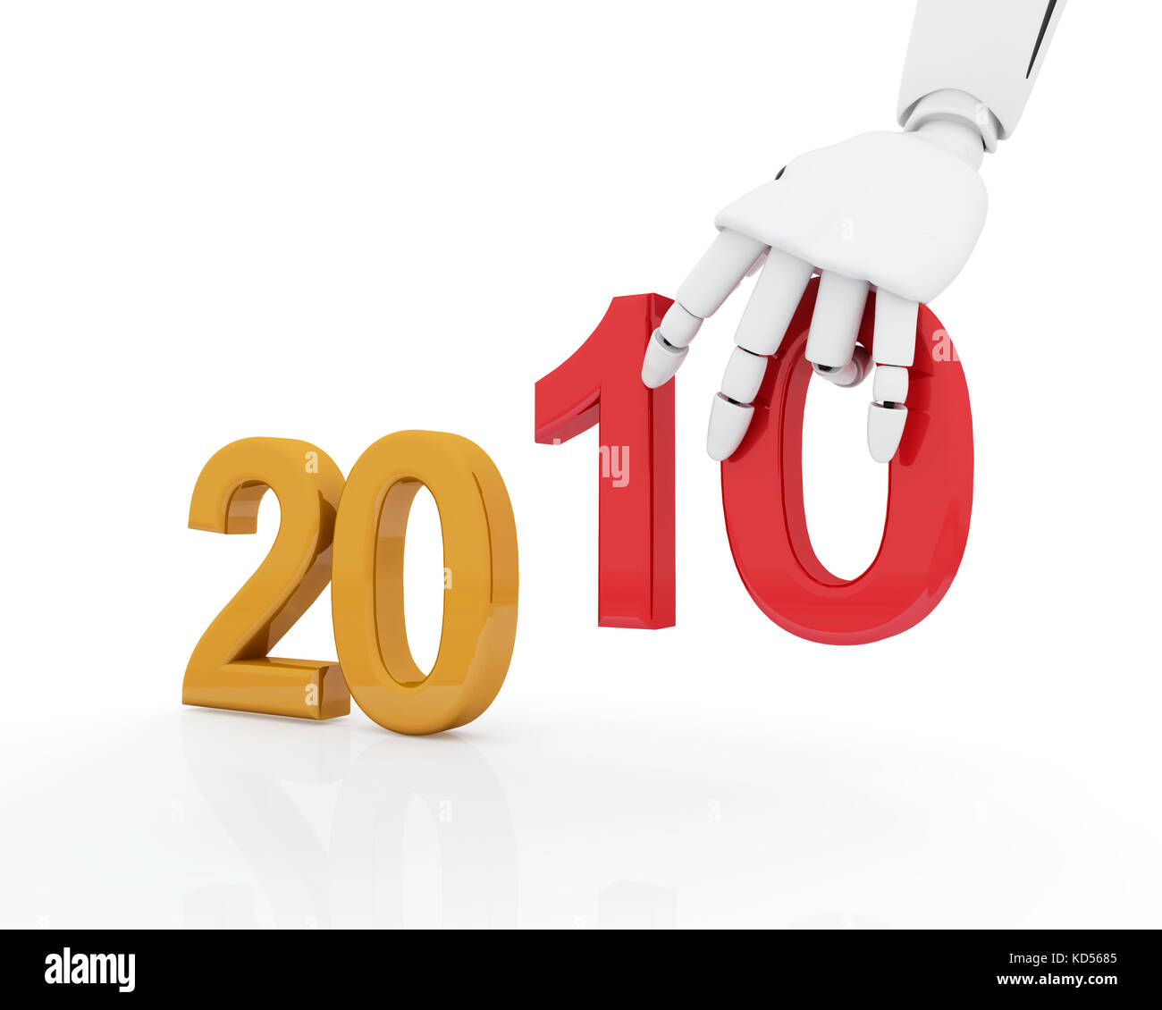 Robotic hand making number 2010 - Stock Image