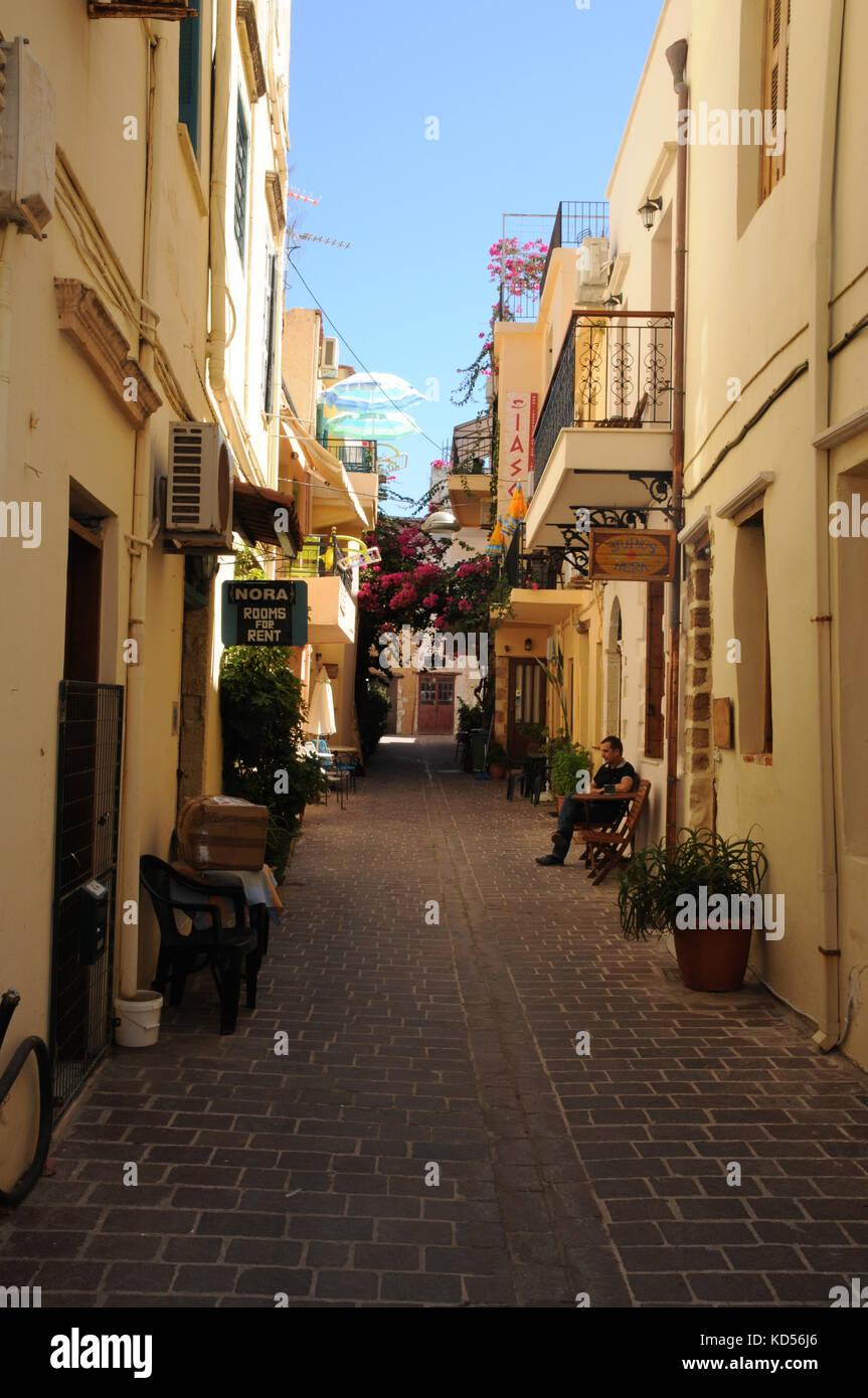 Narrow backstreets abound throughout the coastal town of Chania on the Mediterranean island of Crete. Stock Photo