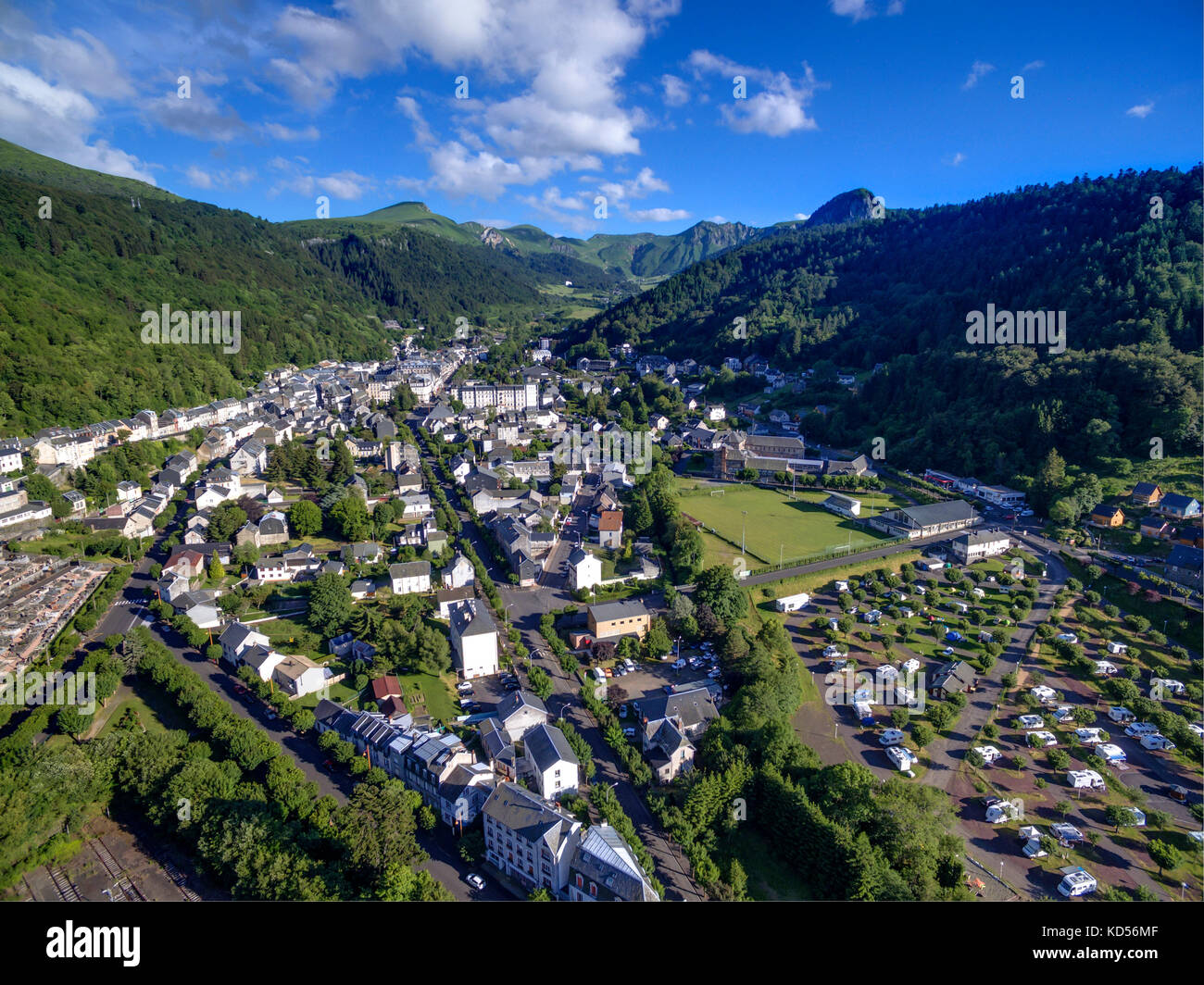 Aerial view of the thermal resort of Mont-Dore in the Sancy massif, Massif Central mountain range Stock Photo