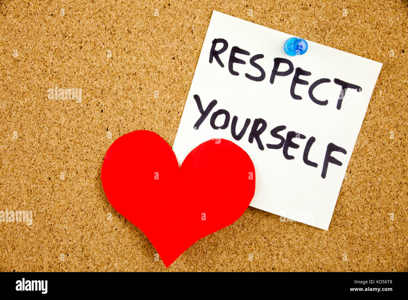 Respect Yourself -Hand holding yellow sticky note written - Stock Image