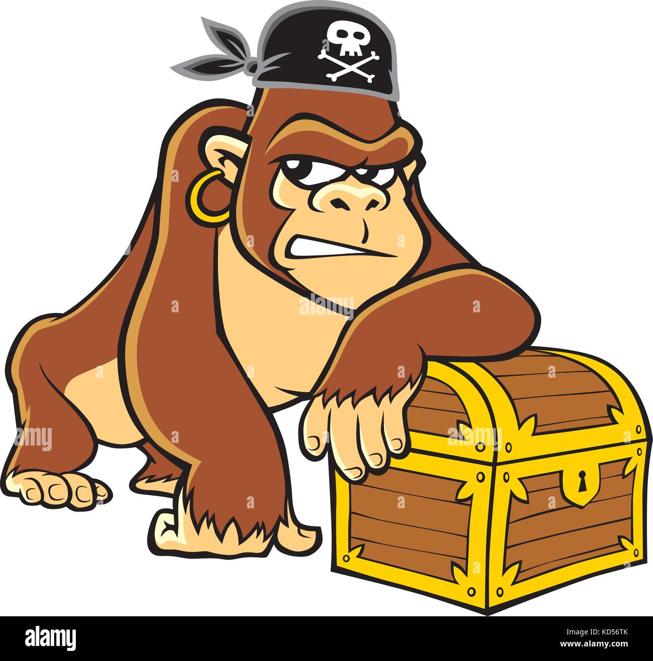 Vector cartoon of a pirate gorilla leaning on his treasure chest and wearing black bandana with skull and bones - Stock Image